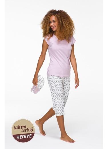 Promo Kadın Terlik Hediyeli Penye Kapri Pijama Takımı Hays